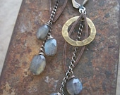 Labradorite Earrings,  Star Trek Earrings, Sci- Fi Jewelry, Labradorite  Dangle Earrings, Mixed Metals and Gemstone Earrings