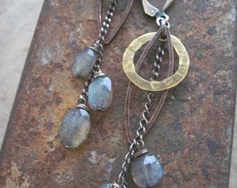 Labradorite Earrings,  Star Trek Earrings, Sci- Fi Jewelry, Labradorite  Dangle Earrings, Mixed Metals and Gemstone Earrings