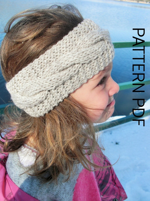 Cable Knit Ear Warmer Pattern : Ear Warmer Headband Knitting PATTERN Instant Download Pattern Digital Toddler...