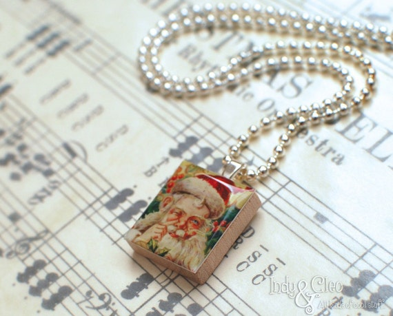 Santa Claus, St. Nicholas, OLD ST. NICK Handmade Scrabble Tile Art Pendant, Charm, Jewelry, Necklace, Merry Christmas