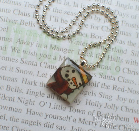 Smiling Snowman, Snowman with Top Hat, Handmade Scrabble Tile Art Pendant, Charm, Jewelry, Necklace, Winter Holiday