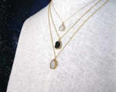 Moonstone round charm pendant necklace gold filled chain delicate small