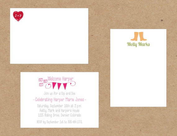 Custom Motif Stationery Notes, Invitations, Announcement - set of 15