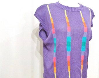 "Rainbow Totem Lightning Bolts Sweater Purple Lavender Rave New Wave Cotton Ramie Club Kid Short Cap Sleeve Shirt PullOver Top 37"" Chest"