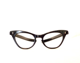Cat eye glasses Vintage 50s 60s Black Cat Eyes on SALE Double Star Sunglasses, New Old Stock Glasses Never used Winged