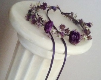 Flower Crown Floral hair wreath Purple Headdress wedding accessories bridal party garland whimsical  halo circlet fall autumn bridal party