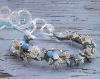 Maternity photo shoot Flower crown by AmoreBride baby blue Lace Tie hair garland fairy wedding accessories vintage style bridal headpiece