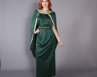 60s GRECIAN Goddess CAFTAN / 1970s Metallic Gold & Green Draped Maxi DRESS