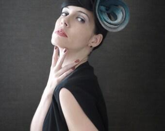 Black Felt Fascinator/Hat with Ombre Grey/Blue Loop Details - Made to Order