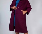 Vintage 50's Bordeaux Wine Wool Pea Coat with Rhinestone Buttons // Vintage Wool Overcoat (sz 8-16)