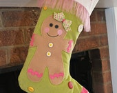 Girl Gingerbread Christmas Stocking with FREE MONOGRAM PERSONALIZATION