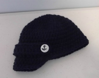Visor Beanie with Anchor Button - newborn to adult sizes - made to order