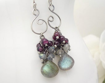 Sterling silver labradorite earrings, dark red garnet, blue flash labradorite gemstone spiral cluster earrings, handmade