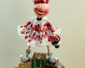 Valentine Holiday Pixie Angel Paperclay Collectible Folk Art Doll