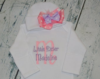 Personalized Little Sister Gown with Bow