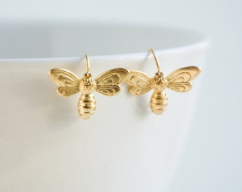 Gold BEE EARRINGS Bumble Bee Garden Summer Insect Bug Teen Jewelry