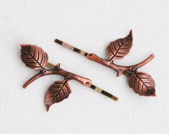 Branch Bobby Pins Nature Hair Accessories Copper Leaf Hair Clips Fall Autumn Woodland Wedding Garden Leaves Hair Grips Fairy Faerie