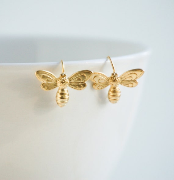 gold bee earrings bumble bee garden summer insect bug