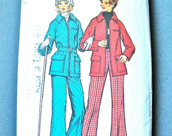 Vintage 70s Simplicity 5985 70s Misses Pattern  Top-Stitched Lined Jacket and Pants Ski Snow Suit