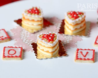 French Buttery Shortbread Millefeuille - Individual French Valentine's Pastry - Miniature Food