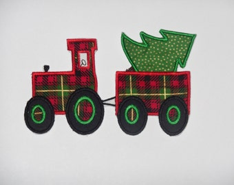 """Embroidered Iron On Applique """"Christmas Tree Tractor"""" RTS"""