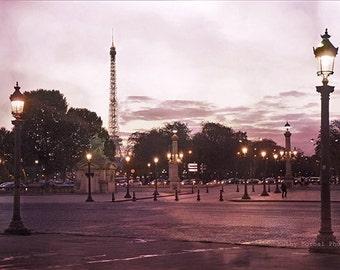 Paris Photography, Place Concorde Plaza, Paris Night Lights, Romantic Paris Prints, Romantic Paris Eiffel Tower Decor, Paris Street Lanterns