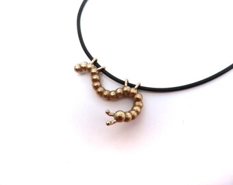 NEW! Callie the Curious Caterpillar Necklace (3D printed Steel, Bronze or Gold)
