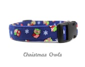 Christmas Owls - Holiday Dog Collar in Red and Blue