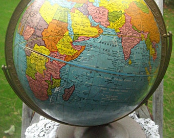 "Cram's Scholastic world globe, mid century style, metal base and axis, mad men decor, retro 12"", man cave, vibrant colors, 1940's-1950's"