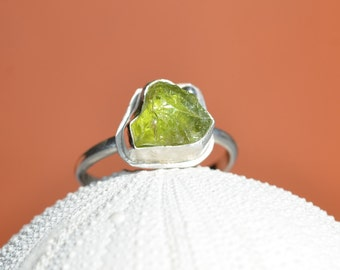 Rough Peridot Sterling Silver Ring - Uncut Raw Gemstone, Green, August Birthstone, Stackable, Rustic, Hammered, Bezel Set, nature inspired