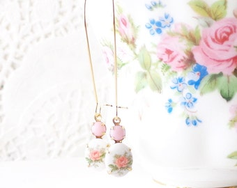 Vintage Limoges Pink Rose Earrings - Long Dangle Earrings - Flower Cameo Earrings - Garden Wedding - Pink Rose