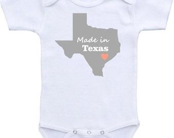 Made in Texas or any state onesie ® brand Gerber Onesie Bodysuit Cute Baby Shower Gift for Baby Boy or Baby Girl, baby shirt