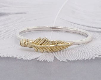Gold feather on a silver band, stack ring, 14k solid gold and sterling silver ring