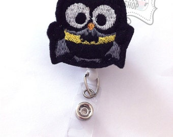 Batman Owl Badge Holder, Superhero Feltie Badge, Felt Badge Clip, Nurse Badge Reel, Retractable Badge, RN Badge, Nurse Gifts