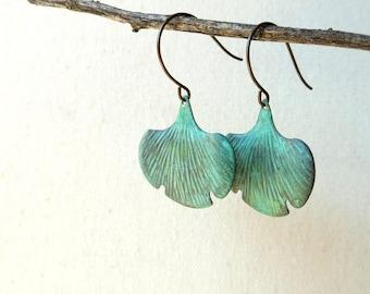 Verdigris ginkgo leaf earrings teal grunge gingko leaf earrings