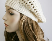 Slouchy Beanie Womens Crochet Hat - Chunky Hat - Oversized Slouchy Beanie - Off White Baggy Beret - Winter Hat