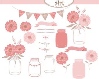 Mason Jar Flower Clip Art // Wedding  Clip Art,Floral Clip Art,Save the Date,Ball Jar,Mason Jar clip art,Rose Pink flowers clip art
