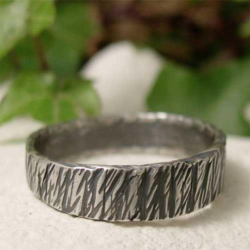 Tree Bark Ring Sterling Silver Textured Ring Band Hand
