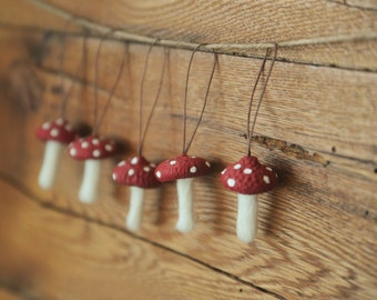 Wool Felted Toadstool Ornaments Set of Mushroom Ornaments with Acorn Cap Tops