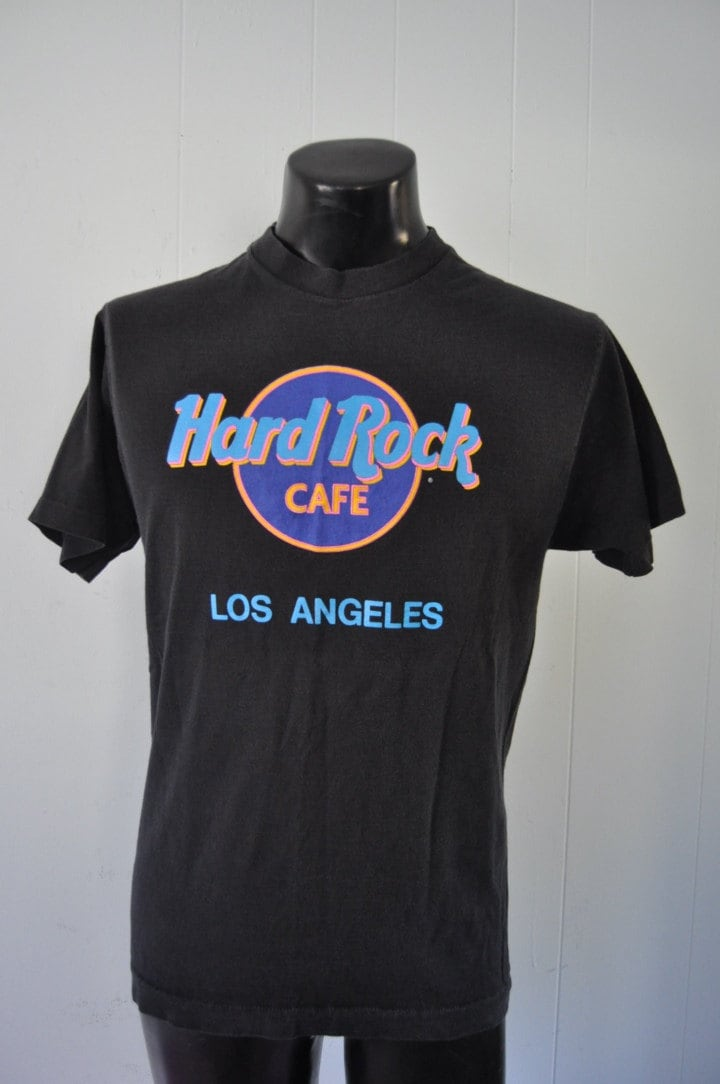 vintage hard rock cafe tshirt neon black 80s 90s ca los. Black Bedroom Furniture Sets. Home Design Ideas