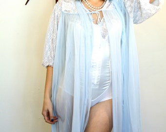 Vintage 50s Powder Blue Double Chiffon Robe Sheer Cover Up Lace Puff Sleeve Sleepwear Nightgown Pleated Lingerie 1950s MAD MEN Loungewear