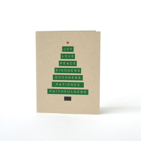 Joy Love Peace Tree - Blank Recycled Christmas Greeting Card - Merry Christmas Card - Christmas Tree Card - Modern Minimalist Card