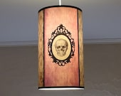 Skull lamp shade lampshade ceiling light Baroque Skull-unique lighting,lighting hanging chandelier,pastel goth,gothic decor,pink lamp,damask
