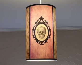 Pink Skull lamp shade lampshade ceiling light Baroque Skull - unique lighting, lighting hanging chandelier, pastel goth,gothic decor, damask