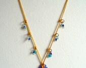 Blue Dichroic Glass Pendant Necklace