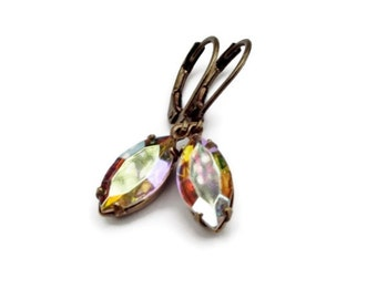 Crystal AB Marquise Earrings Estate Style Earrings Aurora Borealis