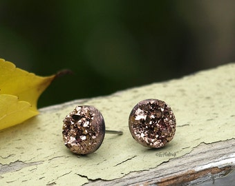 Faux Druzy Stud Earrings in Rose Gold Bronze Glitter, Durzy, 10mm Faux Drusy Posts