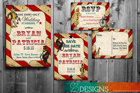 Circus Wedding Invitation Set - Custom Vintage Retro DIY Card - Digital Printable - RSVP - Save the Date - Invite - Rustic Farm Themed Cards