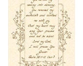 PSALM 30:11-12 NIV - 8x10 Hand Written Calligraphy Art Print Natural Parchment Sepia Brown Vintage Verses Joy Sing Dancing Praise the Lord