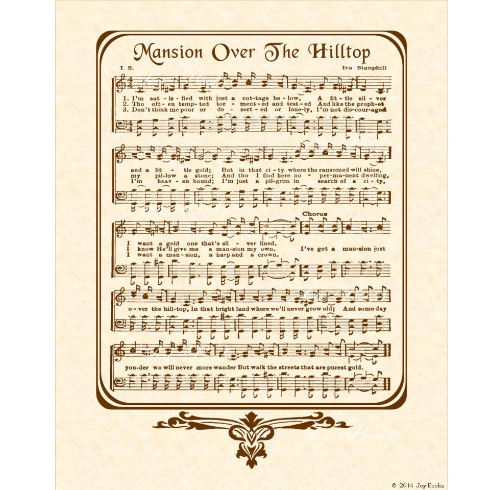 Amazing Grace Free Piano Sheet Music With Lyrics: MANSION OVER The HILLTOP 8x10 Antique Hymn Art Print Natural
